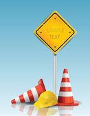 Coni spartitraffico e un cartello giallo con tappo duro — Vettoriale Stock