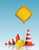 Trafik koner och gul skylt med hårt mössa — Stockvektor