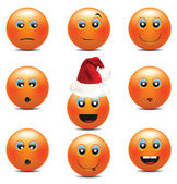 Orange Smiley Faces — Stock Vector