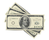 100 Dollars Isolated on white — Stock Vector