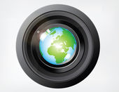 Reflecting Globe on Camera Lens — Stock Vector
