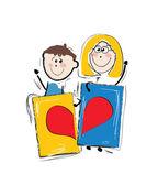 Kids holding heart cartoons — Stock Vector