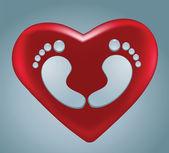 Water drops voetafdruk van hart vorm met rood hart — Stockvector