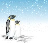 Penguenler elle çizilmiş kış sahne — Stok Vektör