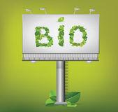 Plakat und Bio-Text geschrieben mit Blättern — Stockvektor