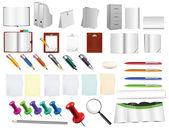 Ogromne biurowe i piśmiennicze narzędzia, służą, jak na tle — Wektor stockowy