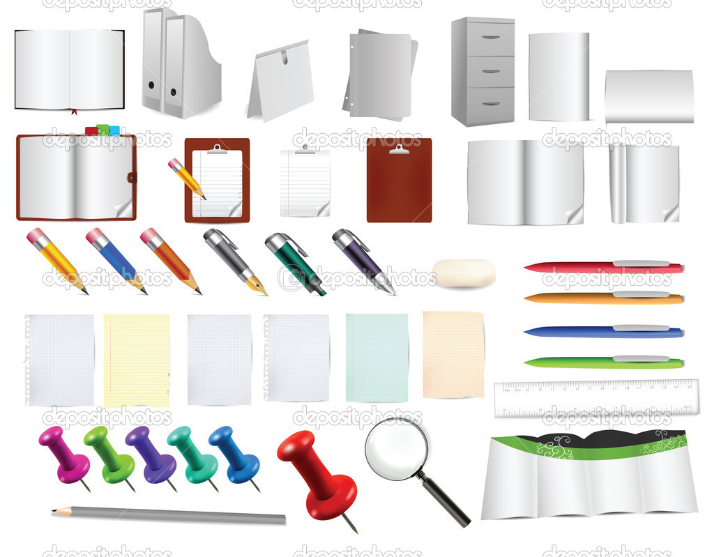 Massive office and stationery tools , use them as you like on any background — Stock Vector #9903899