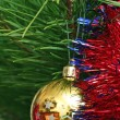 Yellow Cristmas ball on the Cristmas tree — Foto Stock
