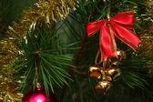 Cristmas bells on the pine — Stock Photo