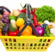 Fruit and vegetables basket — Stock Photo