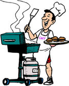 Man cooking on Barbeque Grill Propane — Stock Vector