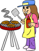 Girl cooking on Barbeque Grill Charcoal — Stock Vector