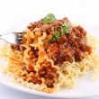 Fusilli with bolognese sauce — Stock Photo