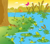 Pond with the frogs — Stock Vector