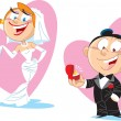 Cartoon bride and groom — Stock Vector