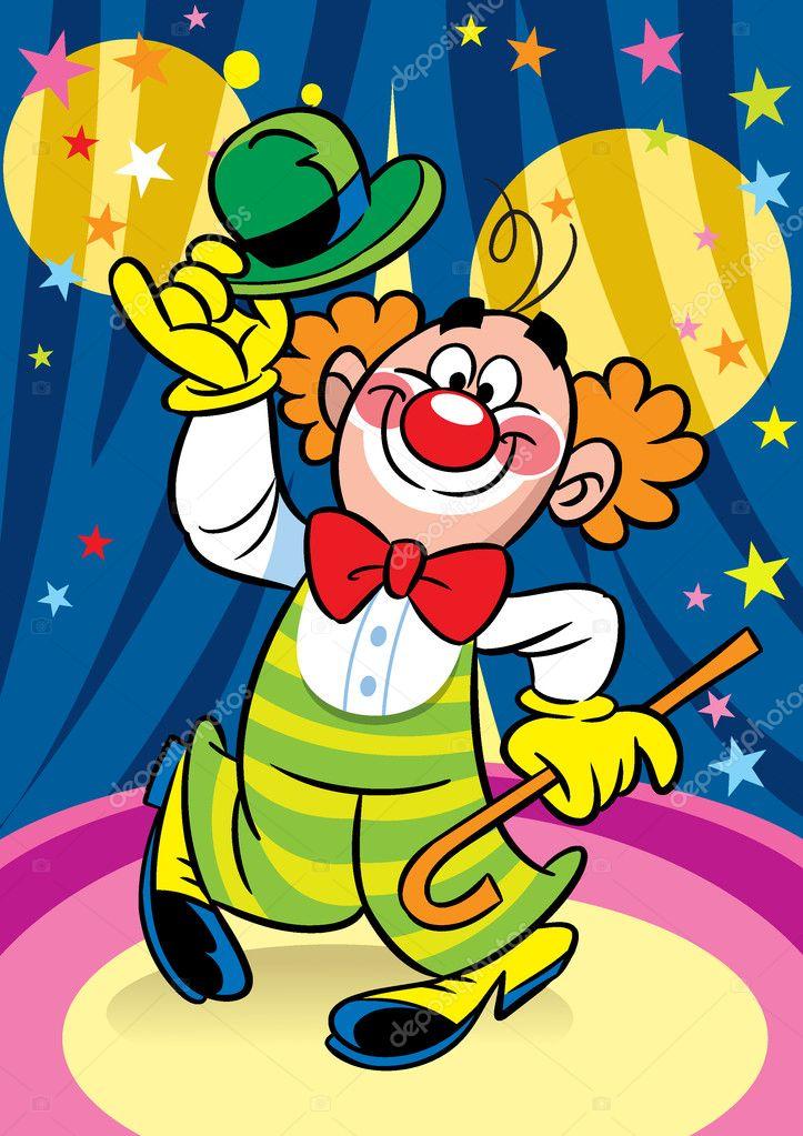 Рисунок клоуна на арене