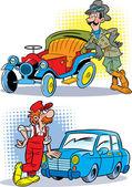 Driver and mechanic — Stockvektor