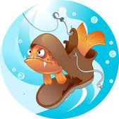 Funny fishing — Stock Vector