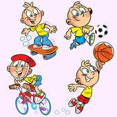 Sports boy — Stock Vector