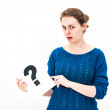 Woman with board question mark sign - Stock Photo