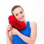 donna con un cuore rosso — Foto Stock