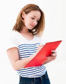 Woman hold a folder — Stock Photo