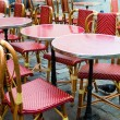 Empty coffee terrace in paris,France — Stock Photo