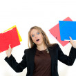 Unhappy woman with folders — Stock Photo #10396109