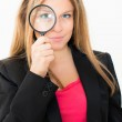 Woman with magnifying glas — Stock Photo #10396402