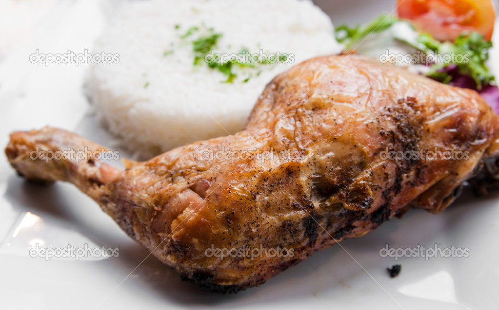 Fried chicken with rice and fresh salad  Stock Photo #10396680
