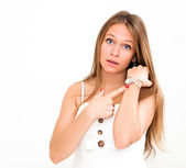 Young woman checking the time — Stock Photo