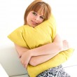 Woman with green pillow — Stock Photo #8681681