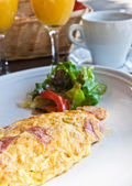 Omelet with ham — Stock Photo