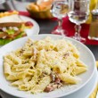 Tasty pasta with roast ham — Foto Stock