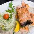 Grilled salmon and rice — Foto Stock