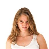 Mulher fazendo uma careta engraçada — Fotografia Stock