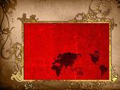 Grafika rocznika mapę świata — Zdjęcie stockowe