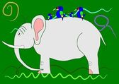 Elephant on the green background. — Stock Vector