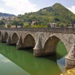 Old bridge on Drina river - Visegrad, Balkans. — Stock Photo