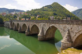 Old bridge on Drina river - Visegrad, Balkans. — Stock Photo