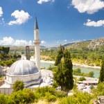 Mosque - Pocitelj and in background Neretva river. — Stock Photo