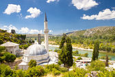 Mosque - Pocitelj and in background Neretva river. — Stock Photo
