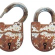 Open and closed old rusty lock — Stock Photo #8108482