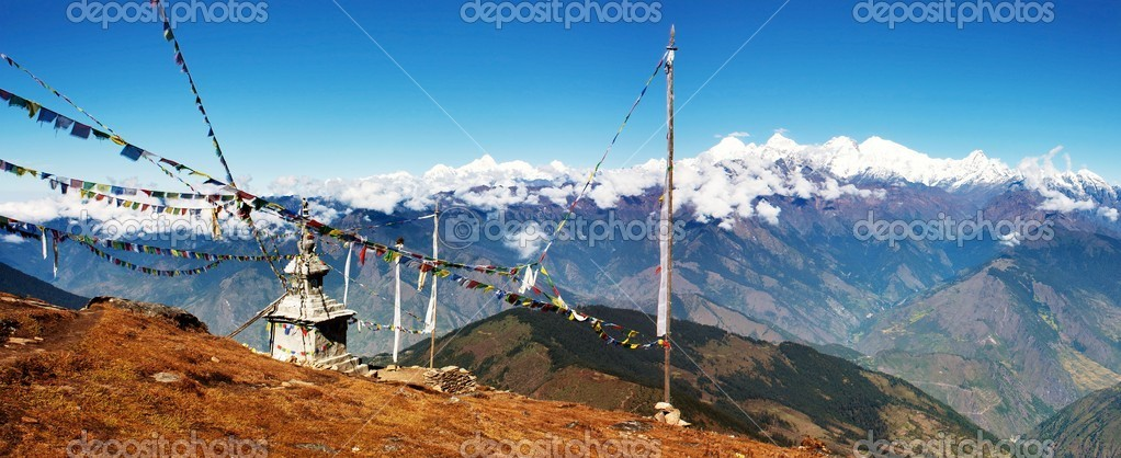 Panoramatic view from Langtang to Ganesh Himal, Manaslu and Annapurna with stupa and prayer flags - Nepal  — Stock Photo #10689541