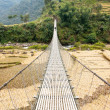 Stock Photo: Hanging footbridge in Nepal