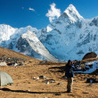 Ama Dablam with tent and man - Stok fotoraf