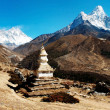 Ama Dablam Lhotse and top of Everest with stupa — Stock Photo #9632955