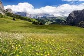 View from passo gardena alias grodner joch - sella gruppe dolomiti italy — Stock Photo