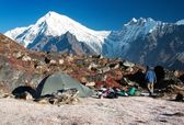 Langtang peak and camping — Stock Photo