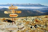 Guidepost in Tatra national park — Stock Photo